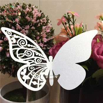 Big Heard Love 50pcs Butterfly wine glass card place card laser cut paper cup escort card wedding birthday party home decoration