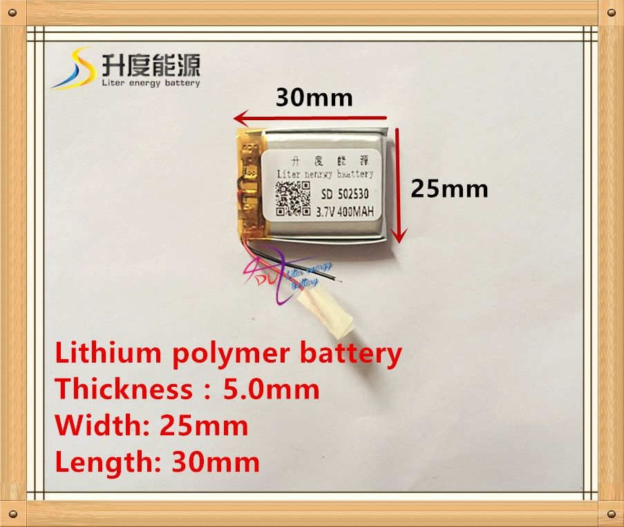 (free shipping) 3.7V 502530 400 mah lithium-ion polymer battery quality goods quality of CE FCC ROHS certification authority