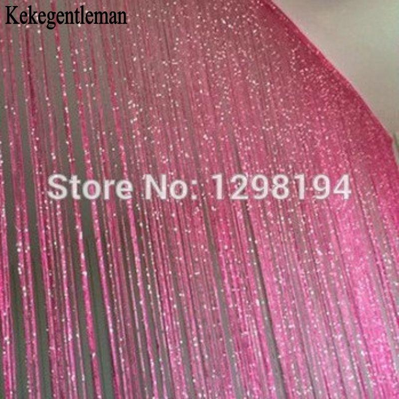 Décoratif argent rideau 200*100 cm/300*300 cm porte fenêtre gland rideau diviseur de pièce mariage bricolage décor à la maison