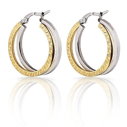 Free Shipping Fashion Jewelry Stainless Titanium Steel Gold Wave Carved Hoop with Smooth Silver One Women's Hoop  Earrings