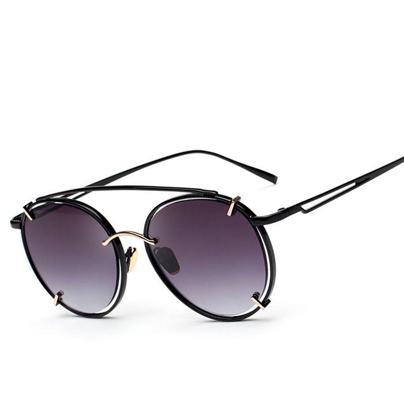 Artículos de la venta ronda vintage Gafas de sol mujeres marca diseñador Steampunk retro metal lujo espejo barato Sol Gafas 717