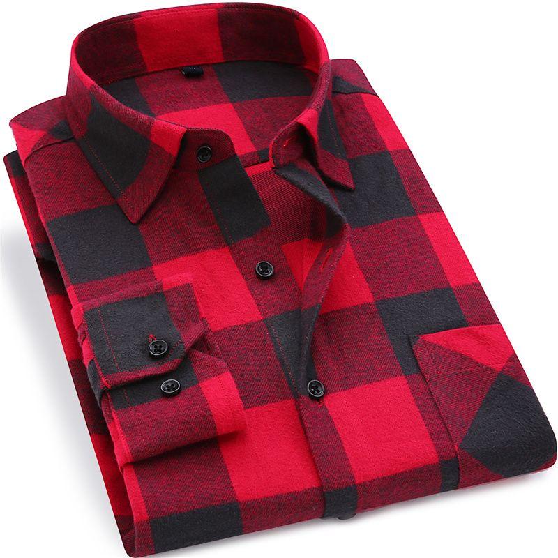 Hommes Flanelle Chemise À Carreaux 100% Coton 2019 Printemps Automne Casual Chemise À Manches Longues Doux Confort Slim Fit Styles Marque Homme vêtements