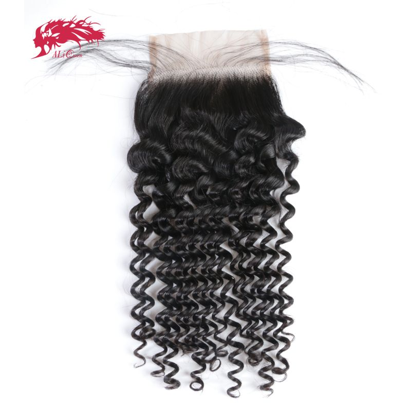 Ali Queen Hair Brazilian Lace Closure Deep Wave 4x4 Virgin Human Hair Closure Free Part With Baby Hair Free Shipping