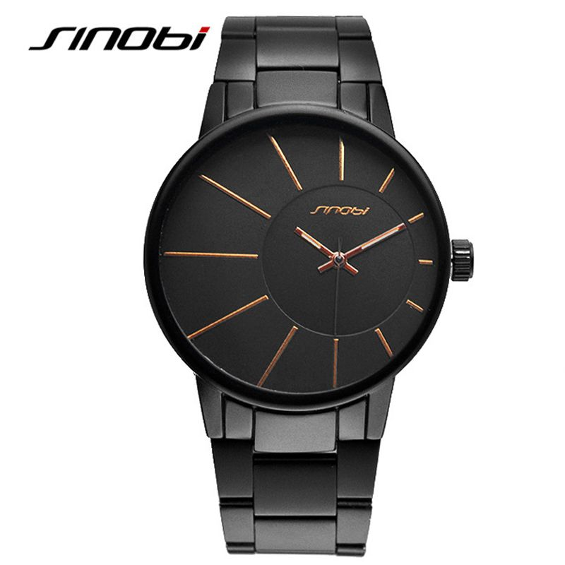 SINOBI Мода 2017 г. Для мужчин полный Сталь часы Наручные часы Часы Для мужчин Роскошные часы Мужские кварцевые часы Мужские часы Relogio B035