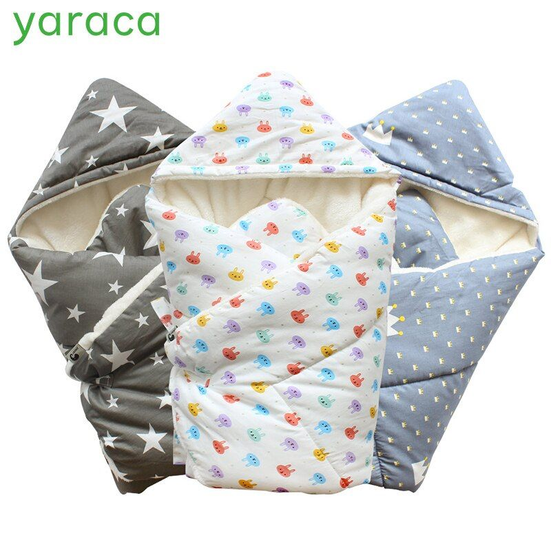 Baby Swaddle 90x90cm Baby Blanket Thick Warm Berber <font><b>Fleece</b></font> Envelopes For Newborns Infant Wrap Baby Bedding Sleeping