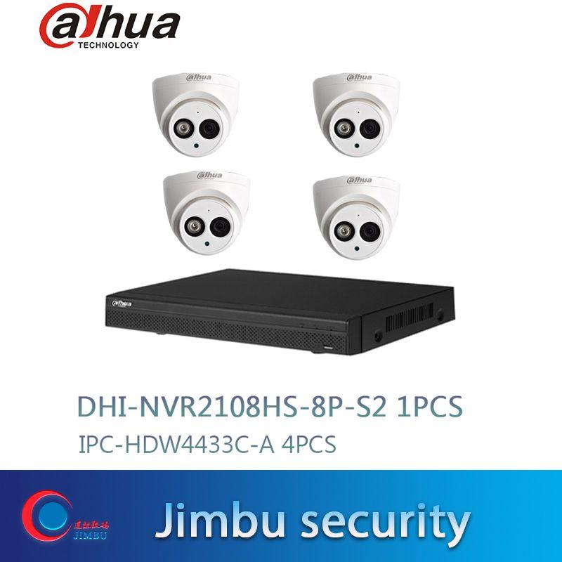 Dahua cctv Kit NVR2108HS-8P-S2 8CH 8POE Netzwerk Video Recorder Full HD 1080 P Recorder Mit 1 SATA 2USB Interface