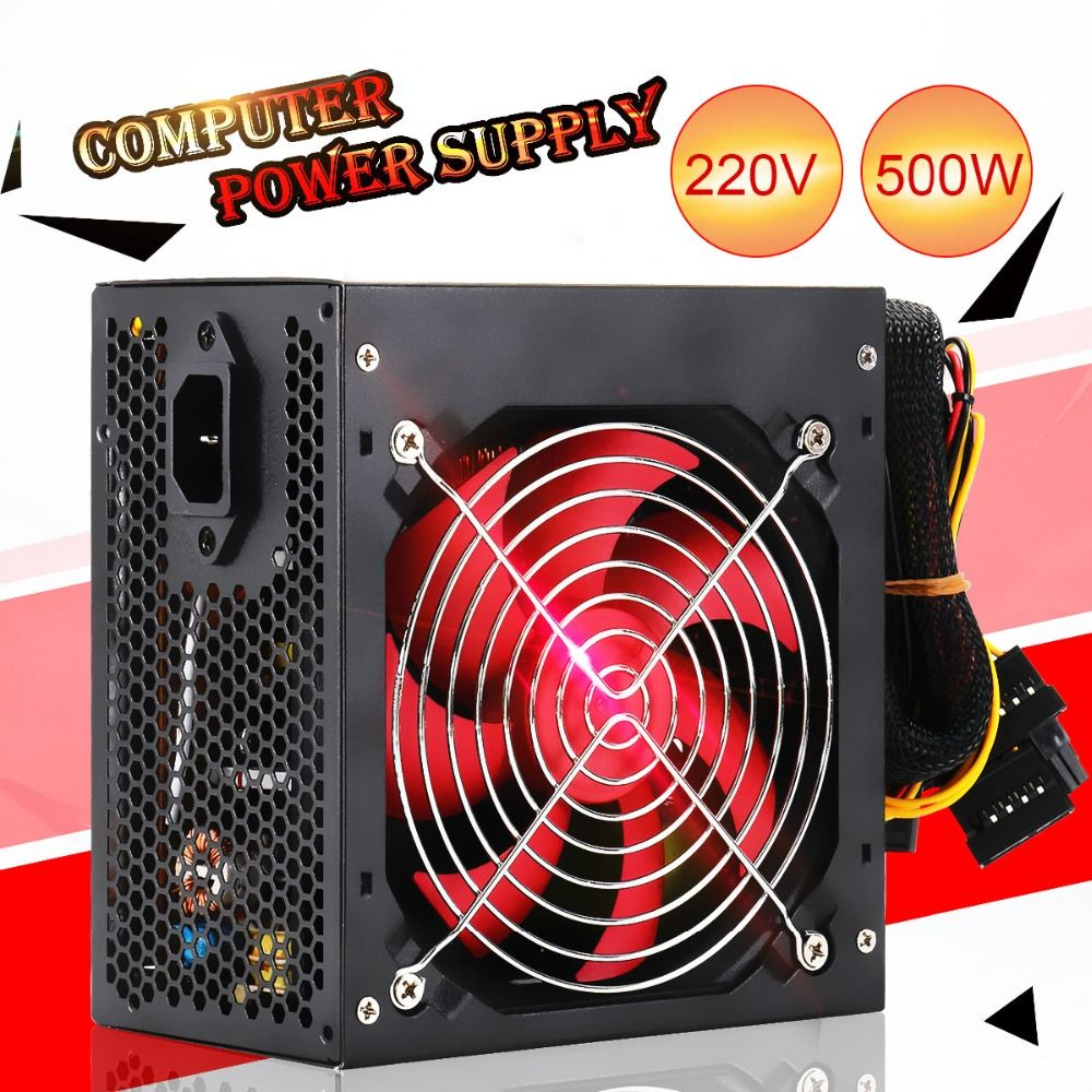 Quiet 400W/500W Desktop BTC Miner Power Supply With SATA 20PIN+4PIN Power Supply ATX Power Switching For Miner Mining