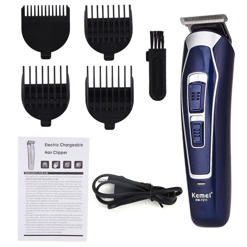 Professional Kemei Electric Hair Clipper Rechargeable Shaver Beard Hair Trimmer Cutting Machine Haircut Beard Trimer Waterproof