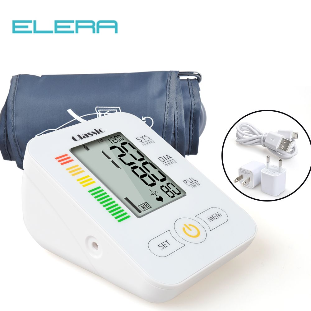 ELERA Home Health Care Blood Pressure Monitor Automatic Digital Blood Pressure Meter for Measuring Upper Arm tonometer Gauge