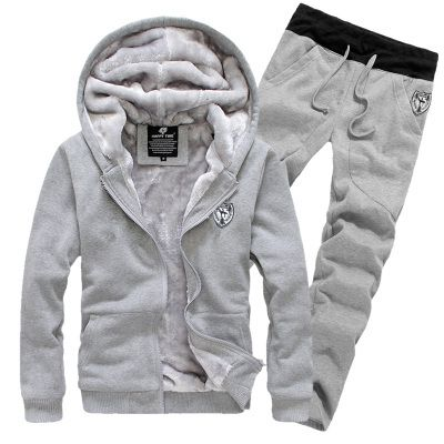 Men's Thick Fashion Velvet Tracksuits Warm Tracksuits Winter Hoodie Grey Red Black Navy M-3XL (Asian Size) Jacket+ Pants