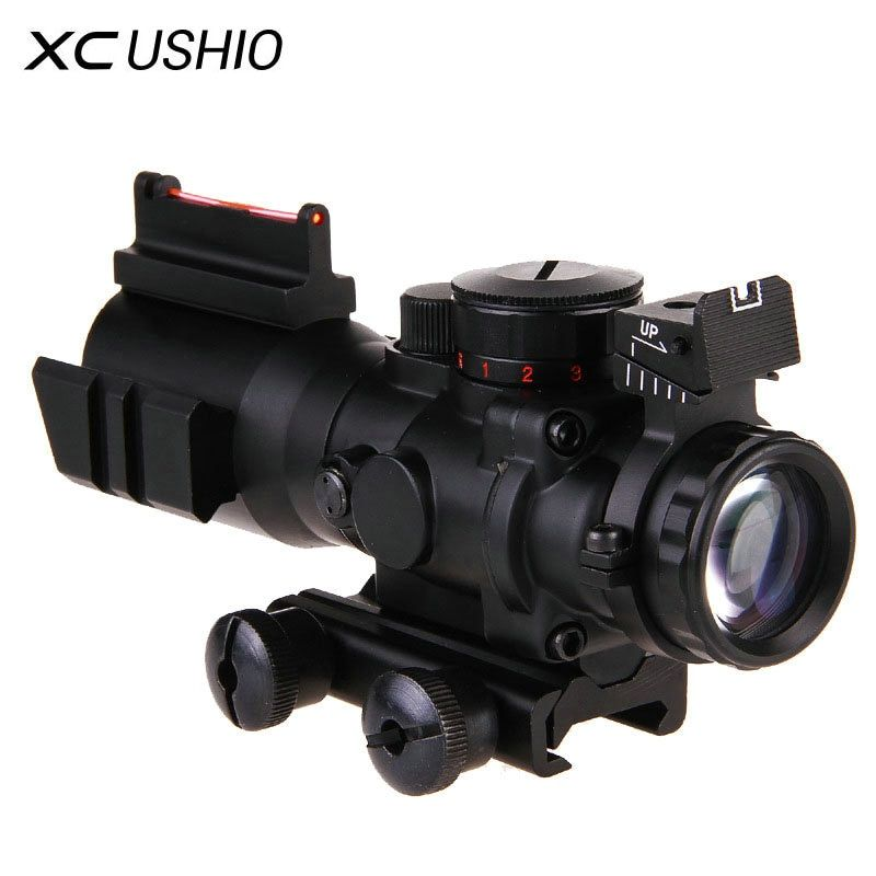 Gun Zielfernrohr 4x Prisma Mechanische Optische Faser Integrierte Sniper Rifle Scope Laser Teleskop Sight Jagd Optik