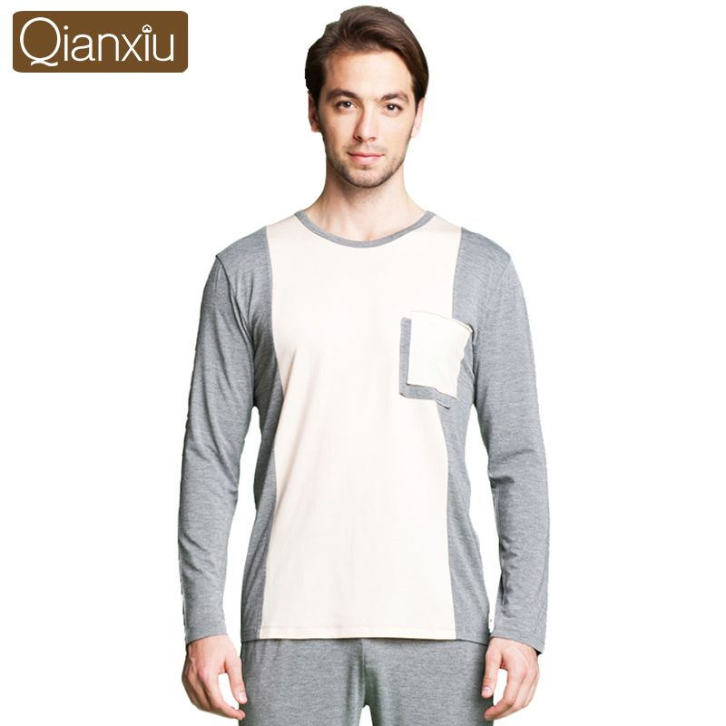 Qianxiu Pajamas For Men Modal Patchwork Pajama Set Long-sleeve Lounge Wear Casual Homewear