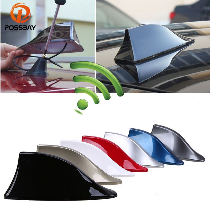 POSSBAY Car Signal Aerials Shark Fin Antenna for Polo Ford Nissan FM Signal Roof AM Signal Radio Aerials Roof Antennas