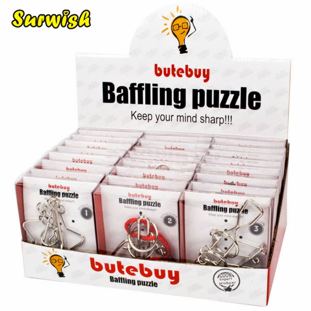 24Pcs/set Metal Wire Puzzles Brain Teaser Classical Intellectual Toy with Single Box Package - Silver