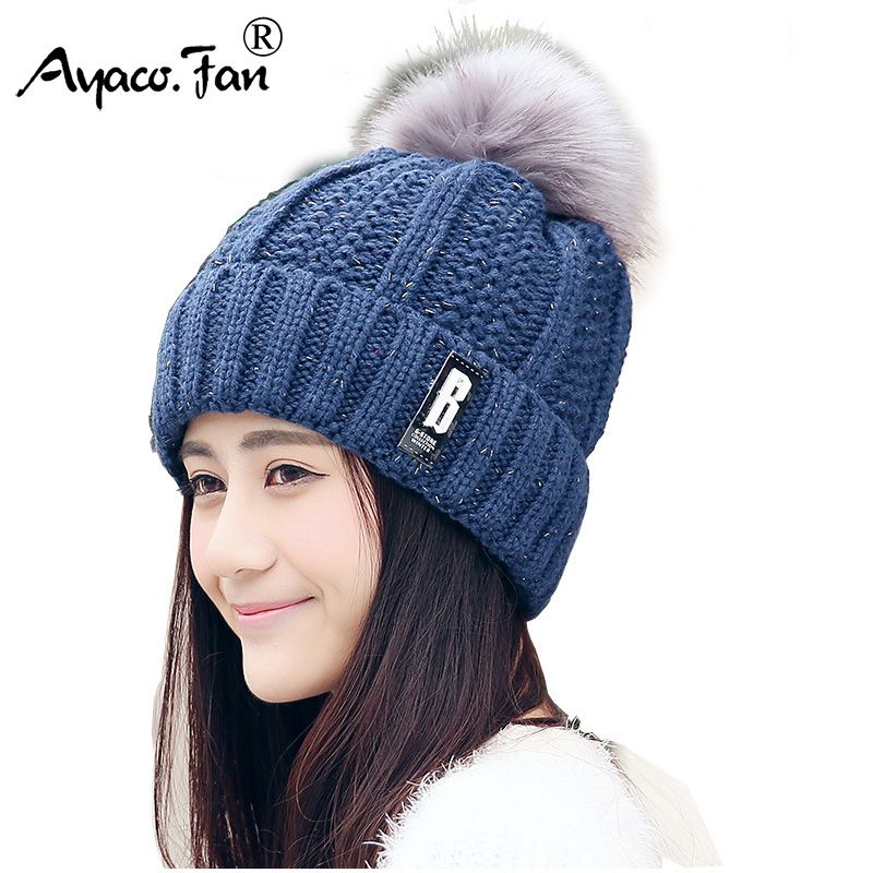 Autumn Winter Knitted Wool Hats For Women Students Fashion Pompon Beanies Fur Hat Female Warm Caps With Natural Fur Cap