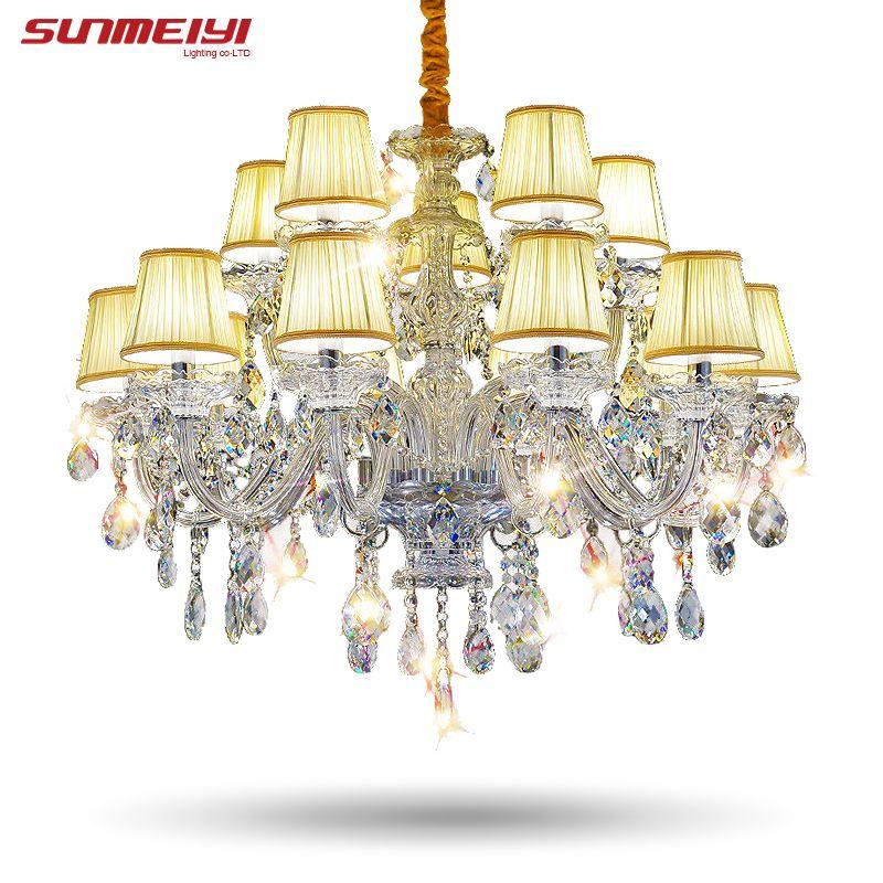 Moderne Glanz Kristall Kronleuchter 15 Arme Leuchte Kristall Licht Lüster De Cristal Kronleuchter Mit Lampenschirm