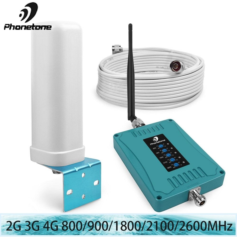 4G repeater 4g 2600MHz 800/900/1800/2100/2600/MHz 2G 3G Mobile Phone Repeater Cellular Signal Booster Amplifier omni Antenna Kit