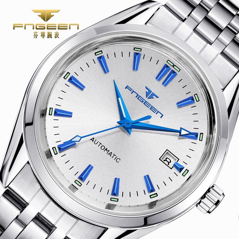 2018 Mens Top Brand Luxury Watches Male <font><b>Luminous</b></font> Calendar Waterproof Wrist Watch Stainless Steel Automatic Mechanical Wristwatch