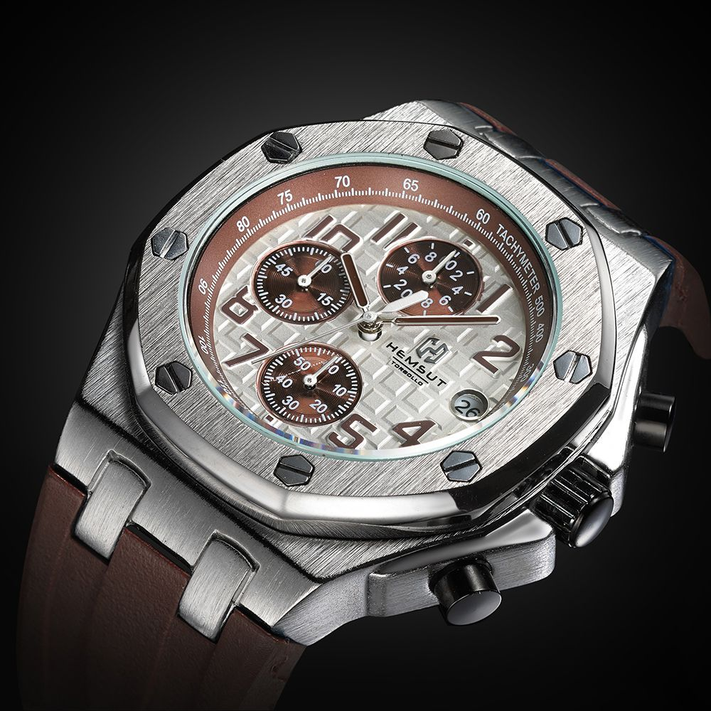 Brand New Men Watch Quartz Watch Coffee Rubber Band 3ATM Water Resistant Quartz Wrist Watch