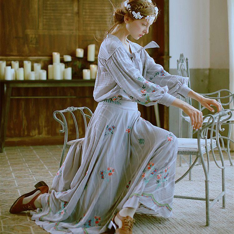 LYNETTE'S CHINOISERIE Light dark gray stripe fresh embroidery small anthocaulus ultralarge spring and autumn skirt