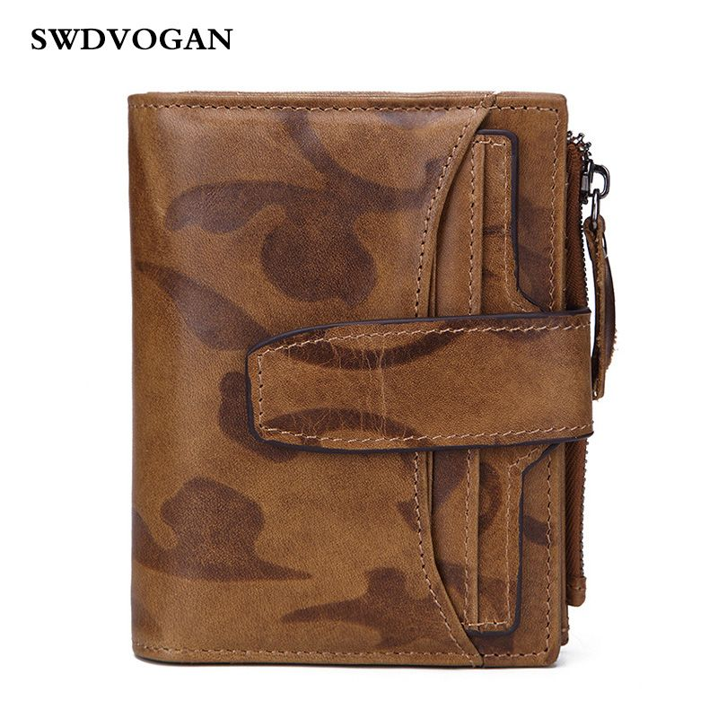 Oil Wax Genuine Leather Wallet For Men Wallets RFID Purse Small Luxury Brand Male Wallet Bag Cowhide Leather With Coin Pocket