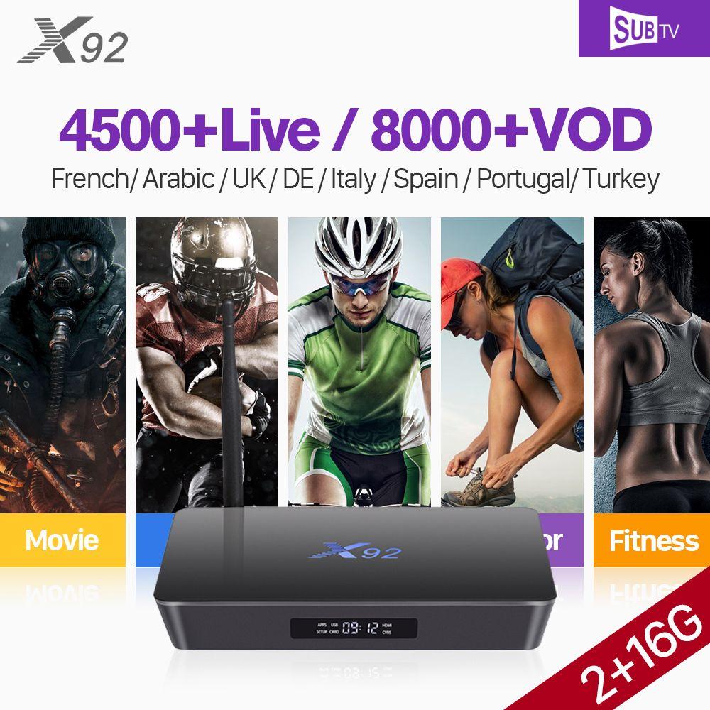 X92 Arabic France S912 Octa-core Android Tv Box Receiver Android 4k Full HD IPTV SUBTV Subscription Turkey Belgium Portugal IPTV