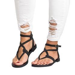 2018 Femmes D'été Dames Sandales de Haute Qualité En Cuir Pantoufles Femmes de Courroie de Croix Plat Cheville Romain Cusual Chaussures Taille 35-43