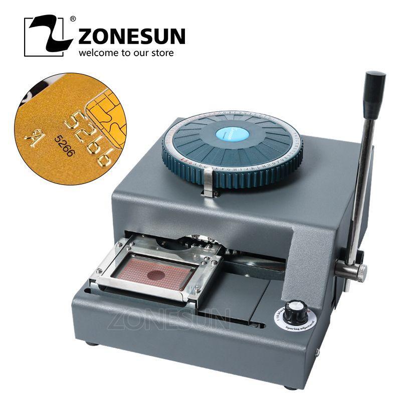 ZONESUN DIY Nach 72 Charakter PVC Karte Embosser Presse Stanzen Maschine Kredit ID VIP Magnetic Präge Maschine