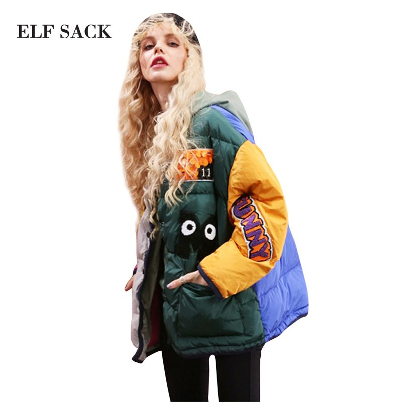 ELF SACK Color Blocking Women Mid-Long Down Coats Appliques Sequins Girl's Loose Winter Down Coats Outerwear