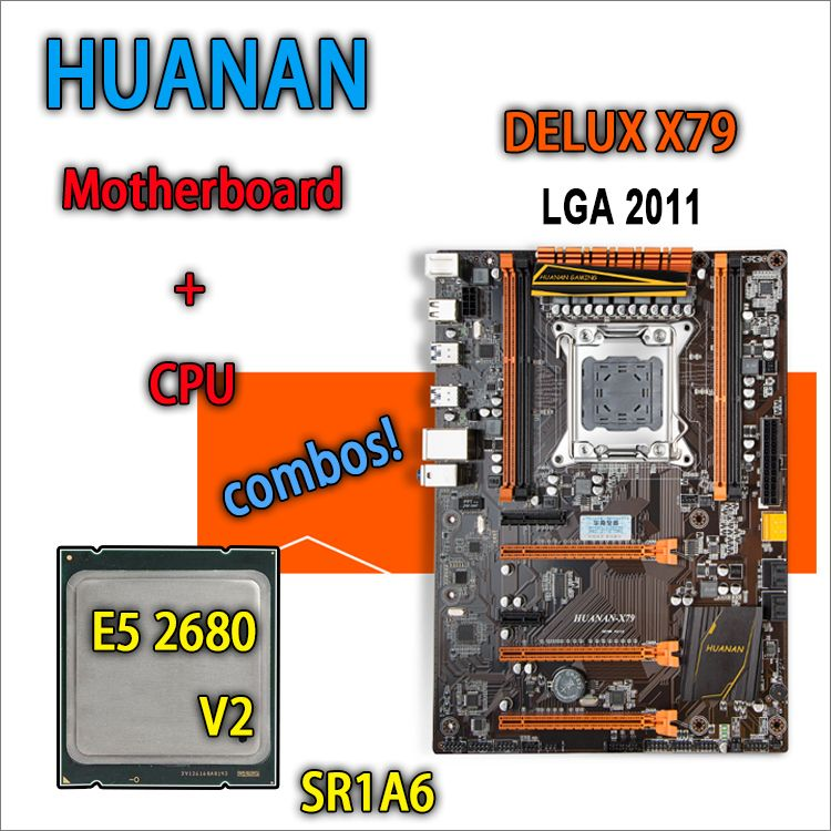 HUANAN golden Deluxe version X79 gaming motherboard for intel LGA 2011 ATX combos E5 2680 V2 SR1A6 DDR3 RECC Memory max 64gb