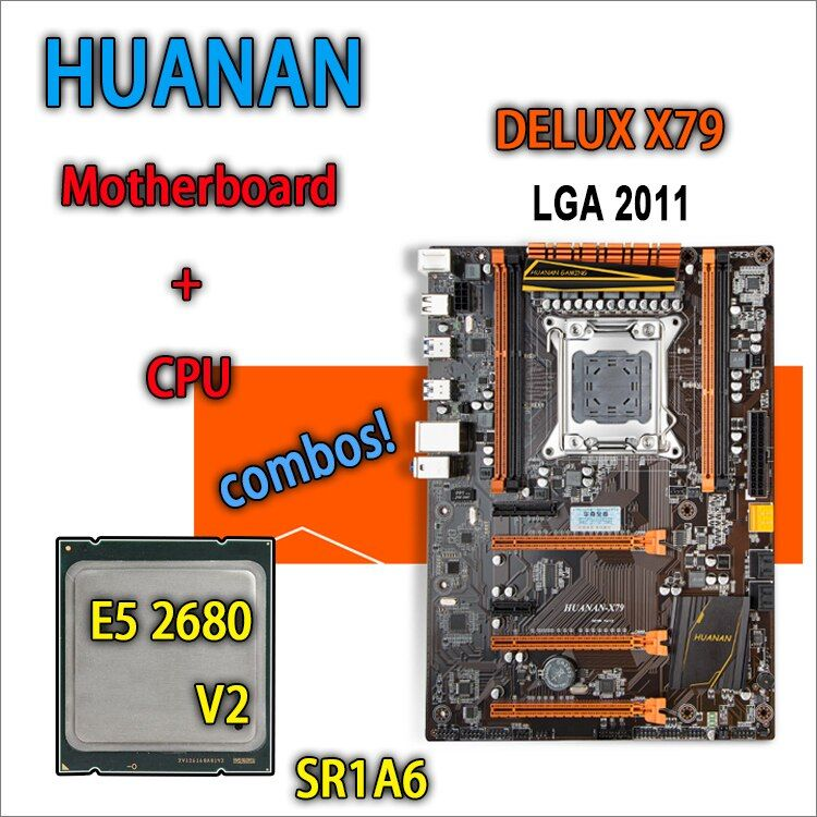 HUANAN golden Deluxe version X79 gaming motherboard for intel LGA 2011 ATX combos E5 2680 V2 SR1A6 DDR3 RECC Memory max 64gb