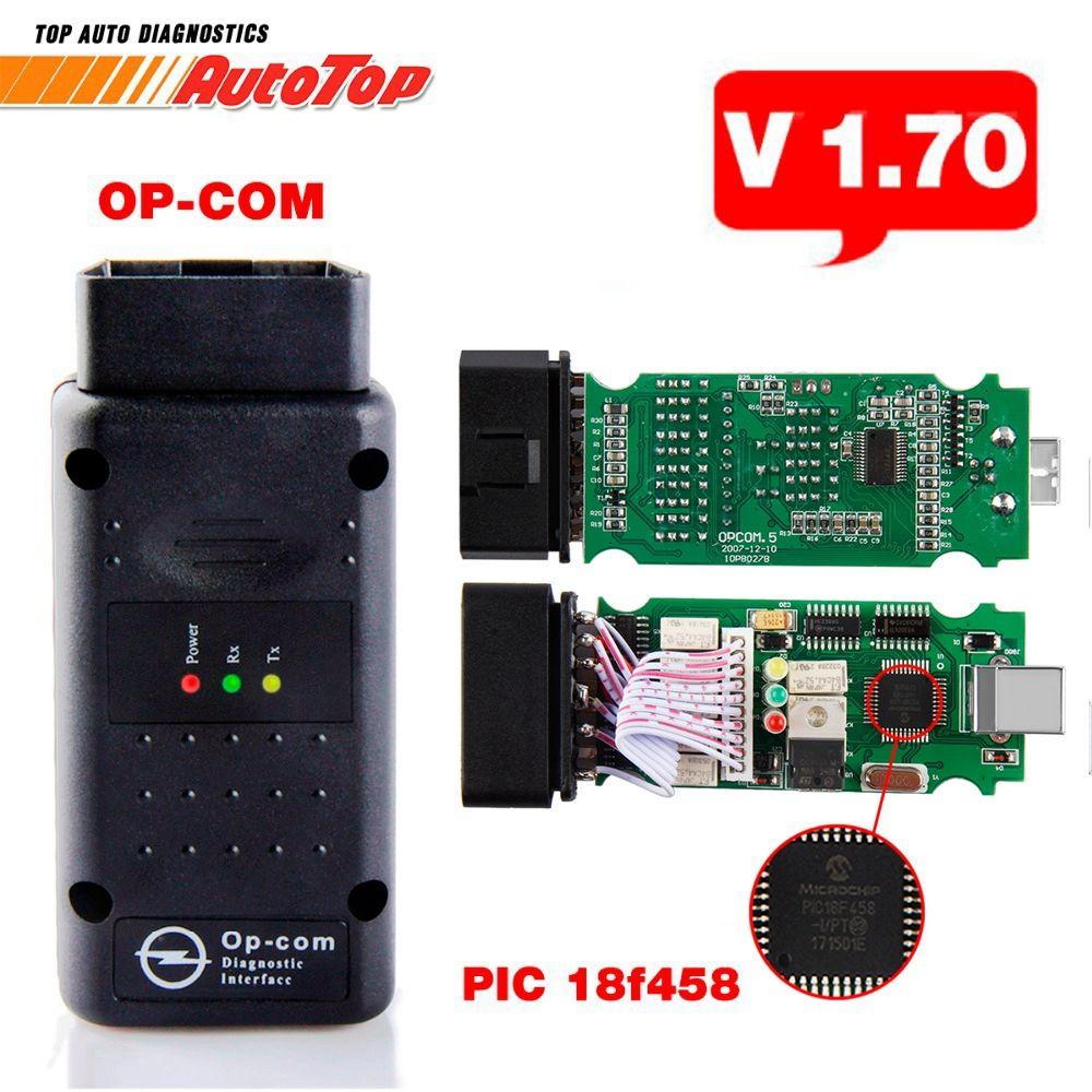 2018 OPCOM V1.70 OBD2 OBD 2 Autoscanner with PIC18F458 OP-COM for Opel OP COM for Opel Car Diagnostic Tool V1.7 Free Software