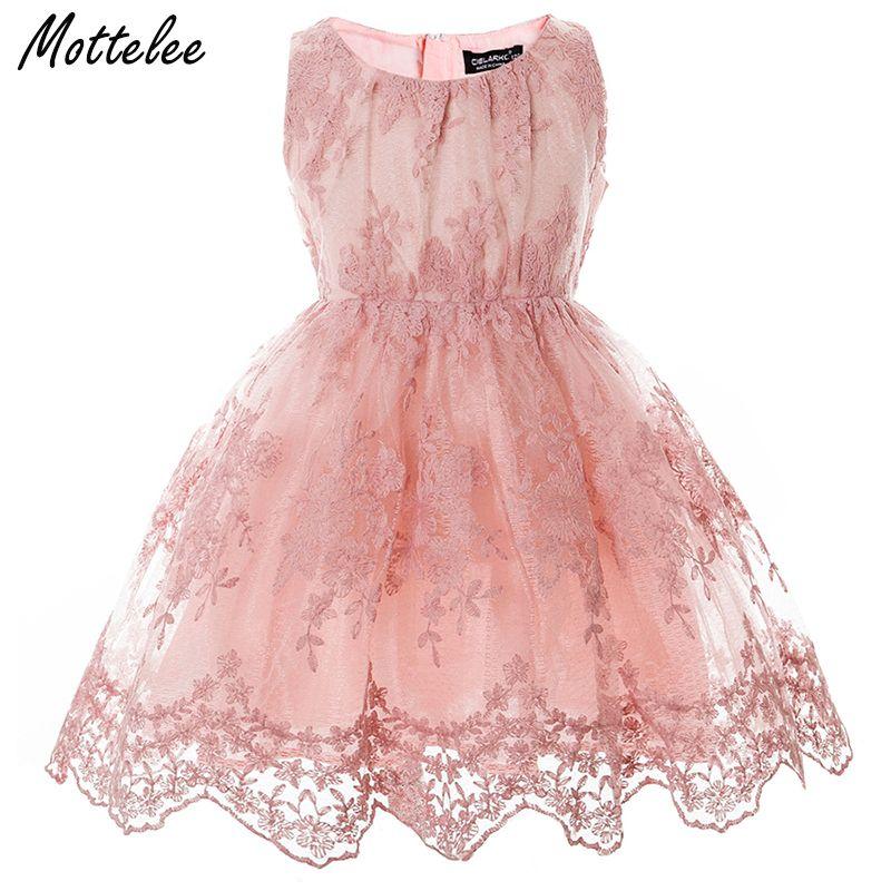 Girls Lace Dress <font><b>Elegant</b></font> Children Wedding Party Gown Pageant Baby Dresses Kids Flower Frocks Princess Birthday Dress for Girl