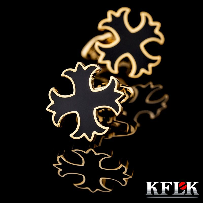KFLK for men present French shirt sleeve shirt cuff button nailing luxury jewelry gold cufflinks 2018 new products free shipping