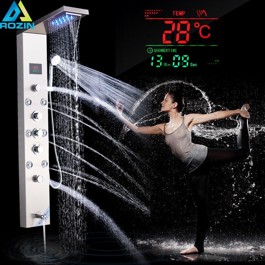Luxus LED Dusche Spalte Wasserhahn Gebürstet Nickel SPA Massage Jet Dusche Panel Turm Tap Digitale Temperatur Screen Badezimmer Wasserhahn