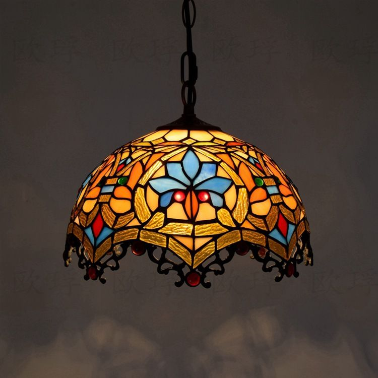 12inch Tiffany Baroque retro stained glass pendant light restaurant bedroom living room corridor porch hanging light lamp