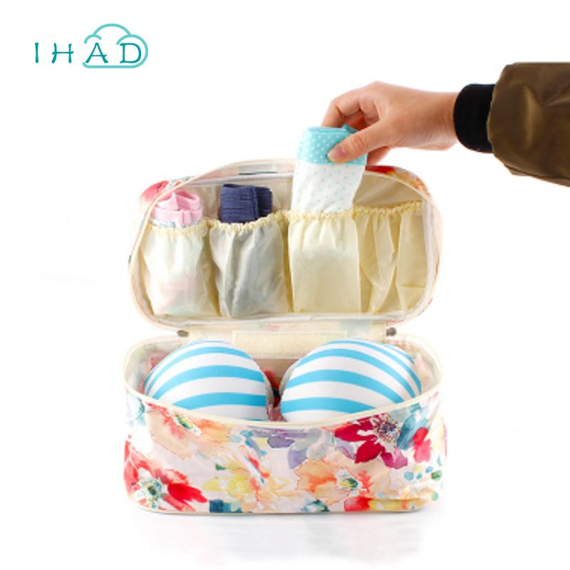 Painting bra box for travel Swimsuit organizer Slight waterproof underwear clothes pouch clothing packing box socks storage bag