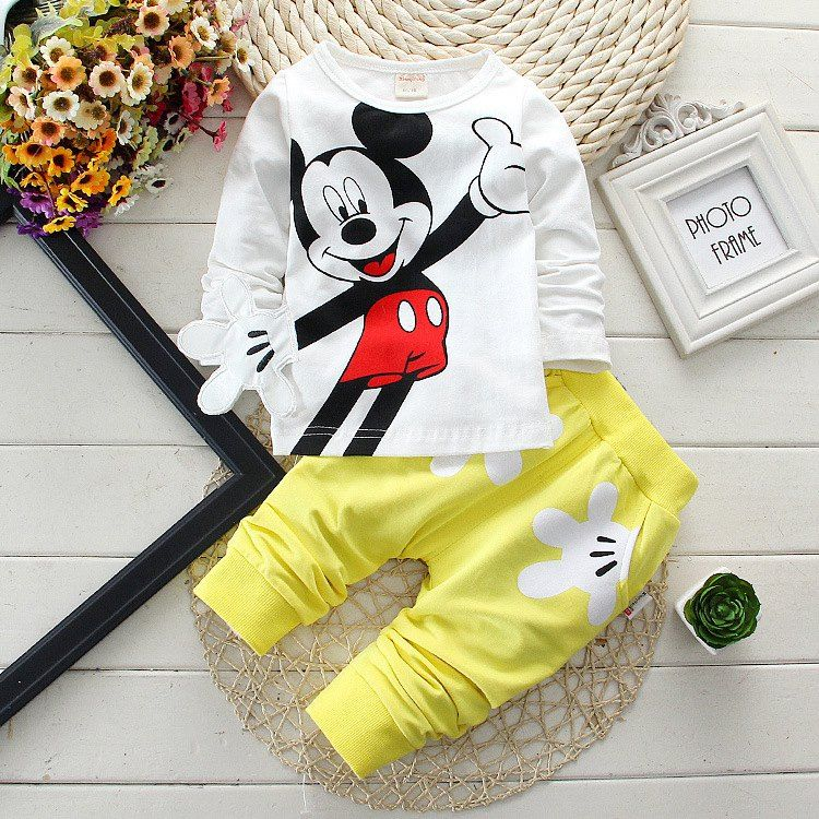 Spring Autumn Baby Boy Clothes 2017 Cartoon Long Sleeved T-shirts Tops + Bib Overalls Children's Outfits Kids Bebes Jogging Suit