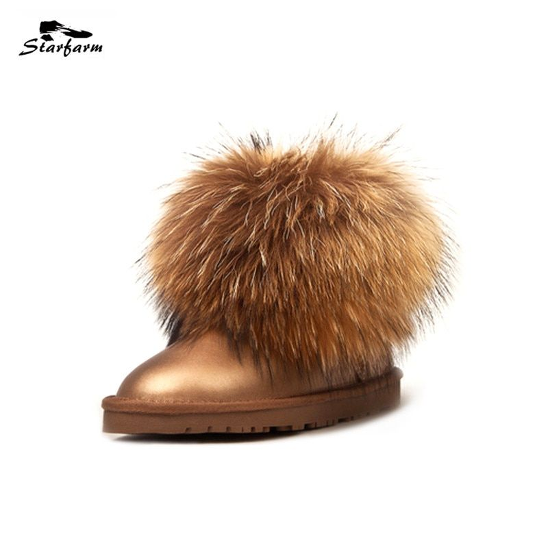 STARFARM Real Fox Fur Ankle Boots Genuine Leather Women Shoes Woman Winter Snow Boots Warm Fashion Russian Boots New Bootie