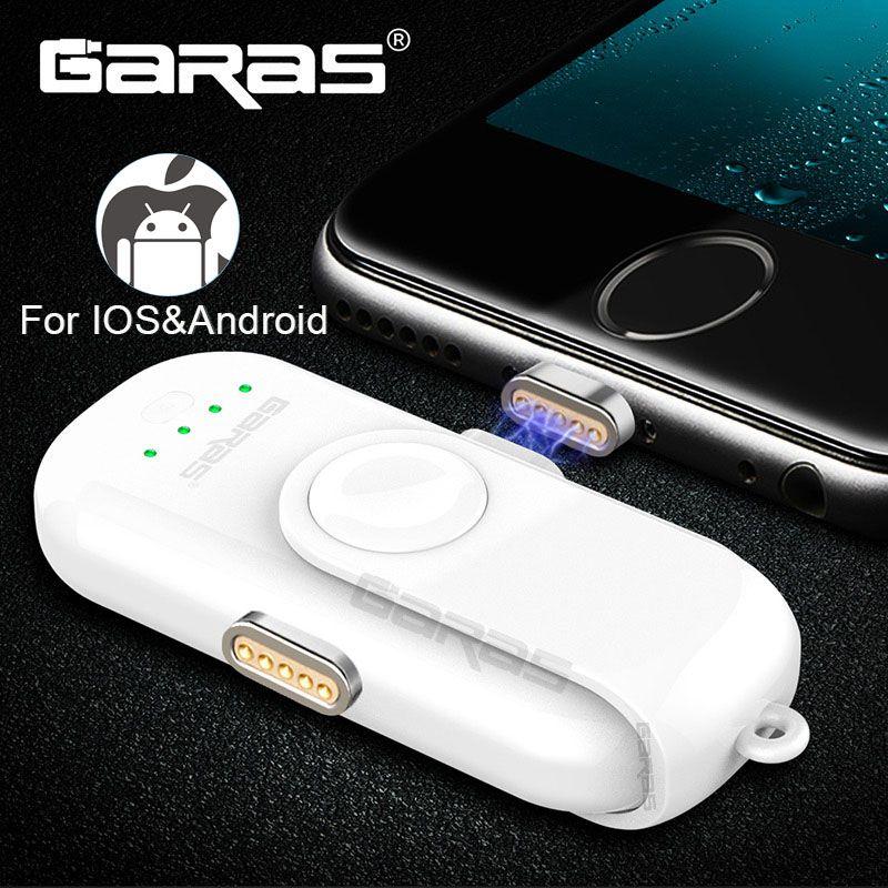 GARAS Magnetic Power Bank For iPhone/Micro USB/Type C 1000mAh Mini Magnet Charger Power Bank 18650 For iPhone/iPad/Xiaomi/LG