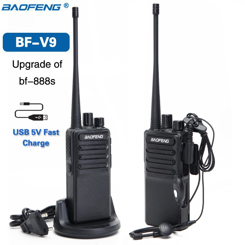 2pcs 2018 Baofeng BF-V9 USB 5V Fast Charge Walkie Talkie 5W UHF 400-470MHz Ham CB Portable Radios Radio Set Upgrade of BF-888S