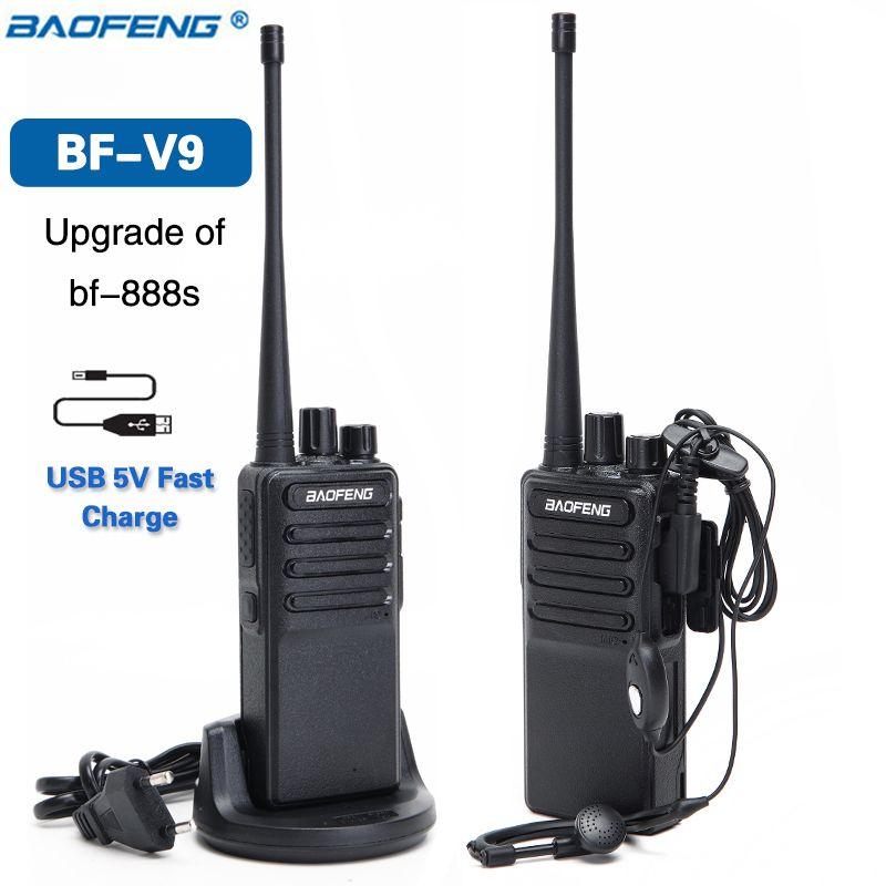 2pcs Baofeng BF-V9 Mini Walkie Talkie 5V USB Fast Charge 5W UHF 400-470MHz Ham CB Portable Radio Set Woki Toki BF-888S bf888s