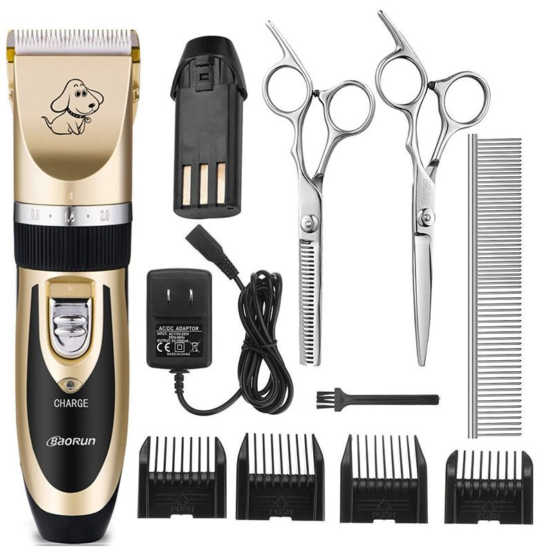 Professional Pet Grooming Clippers Set Rechargeable Cordless Dog Trimmer Machine Animal Hair Clipper For Pet Dog Hair Romover
