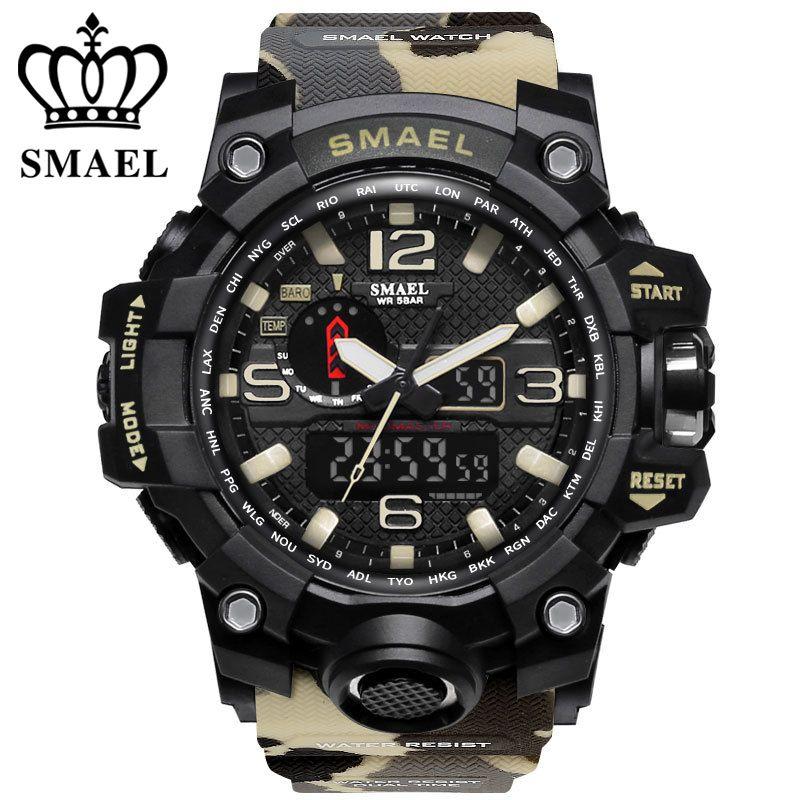 Marque de luxe montres hommes sport double affichage hommes montre à quartz étanche 50m LED numérique analogique montre-bracelet cadeau horloge