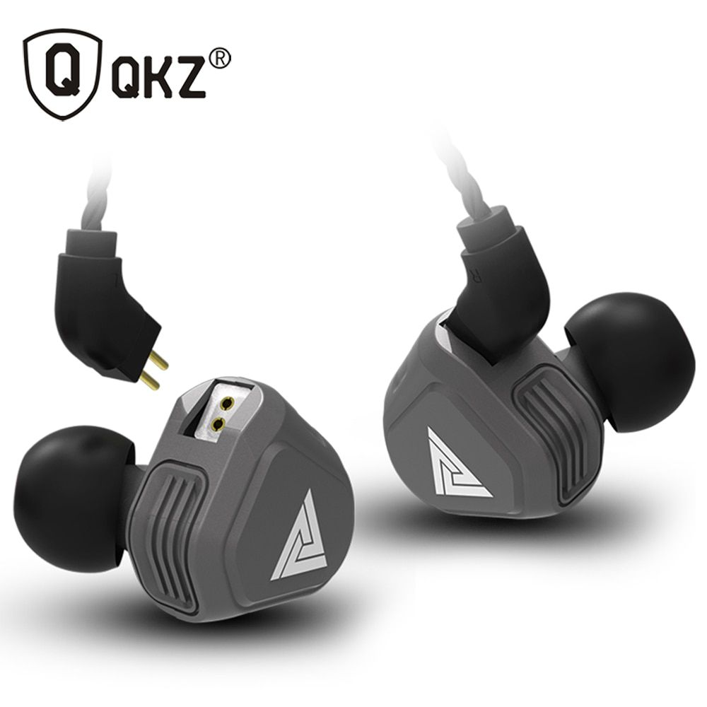 New QKZ VK2 2DD In Ear Earphone HIFI DJ Monito Running Sport Earphone Hybrid Headset Bass Earbuds With Mic Replaced Cable