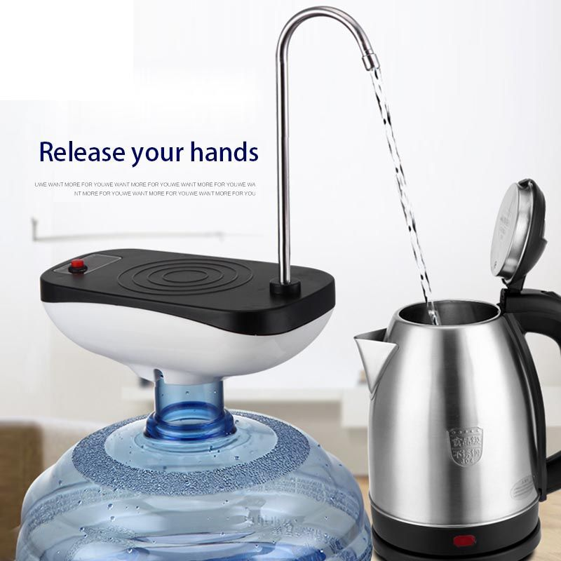 Travel Camping Stainless Steel Automatically Wireless Electric Water Pump Barrel Bottled Water Faucet Water Suction Dispenser