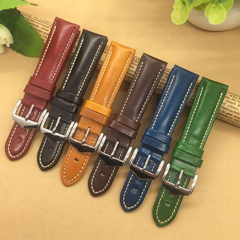 Bracelet de montre en cuir véritable de haute qualité 18mm 20mm 21mm 22mm pour hommes femmes noir/bleu/rouge/marron/bracelet de montre