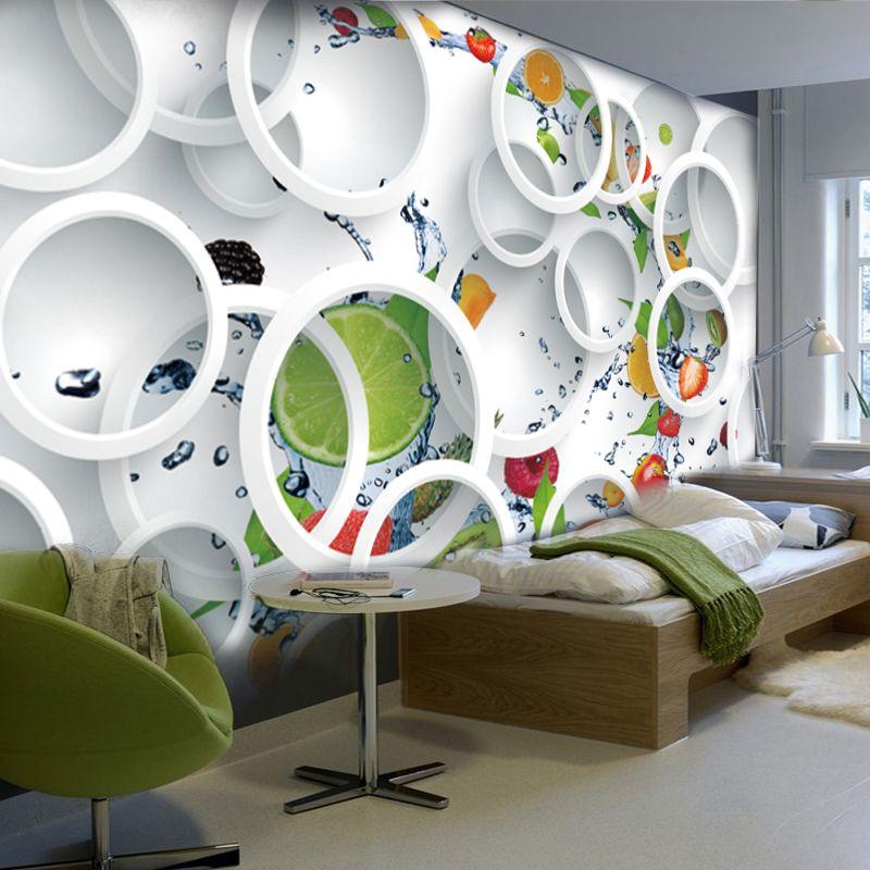 Personnalisé moderne minimaliste Mural Photo papier peint blanc anneau Cycle Fruits Mural Art abstrait papier peint chambre décoration murale