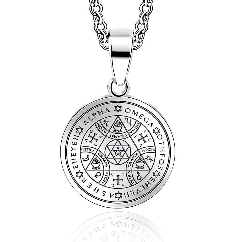 Abaicer Sigil Magic WICCA Seals Of The Seven Archangels Pendant Choker Statement Silver Stainless Steel Necklace Key Of Solomon