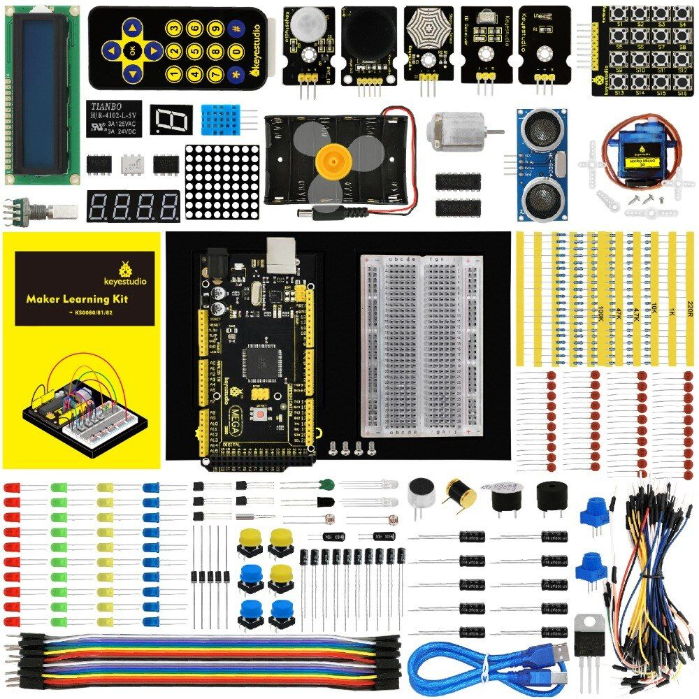 Keyestudio Maker Starter Kit(MEGA 2560 R3)For Arduino Project W/Gift Box+User Manual+1602LCD+Chassis+PDF(online)+35Project+Video